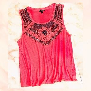 ▪️ express beaded aztec yoke muscle tank top S